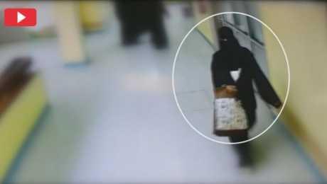 بالفيديو: شاهد امرأة تختطف طفل وتضعه في حقيبتها باحدى الدول العربية