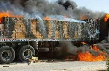 هجوم العناصر الارهابية أمس علي سائقي نقل مصنع اسمنت العريش بطريق الحسنة