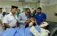 مدير أمن الإسماعيلية يطمئن على مصابي حادث أطفال مدرسة الفاروق عمر الإبتدائية.