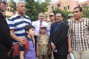 فى أول أيام الدراسة الفعلية عباس وشاهين يتابعان بعض مدارس إدارة قويسنا التعليمية