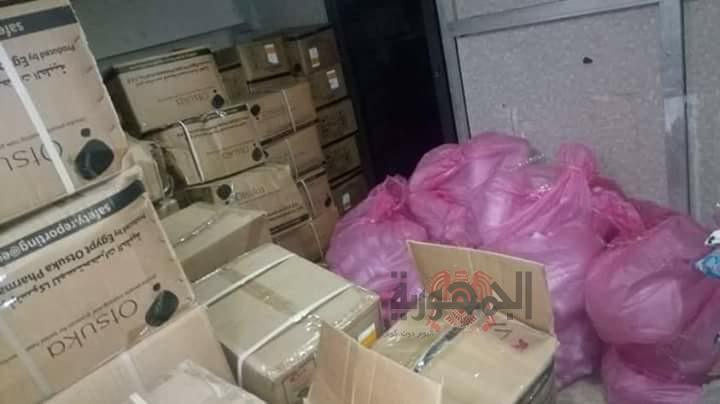 ضبط ٣٥٠٠ زجاجه محاليل غير مصرح بتداولها بمستشفى خاصه بالمحلة الكبرى