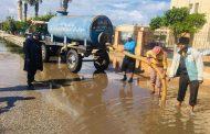 كسح مياه الأمطار بشوارع مدينه جمصه لتحقيق السيولة المرورية