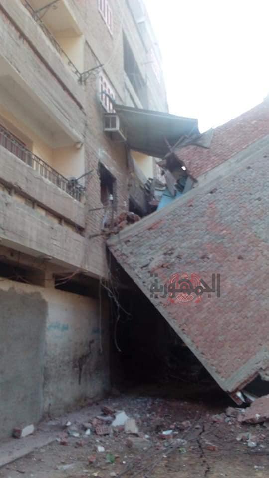 انهيار منزل ببلقاس بسبب اعمال حفر بمنزل مجاور