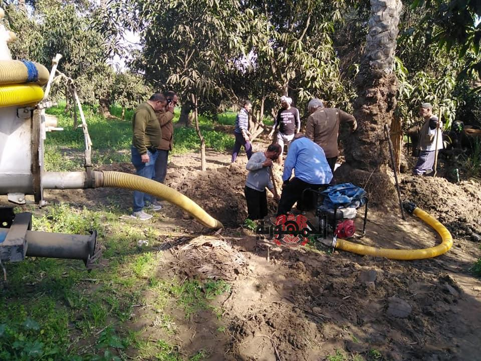 إصلاح كسر خط الطرد الرئيسي لمحطة شرب عين غصين وإعادة ضخ المياه للمواطنين بالإسماعيلية